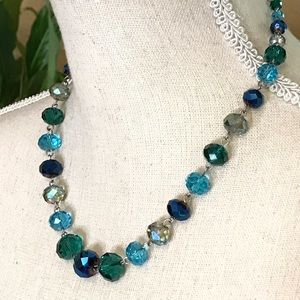 Crystal Glass Graduated Bead Necklace